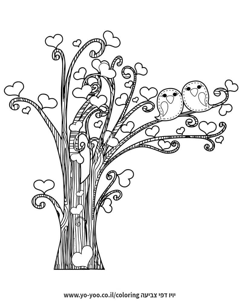 דף צביעה עץ לבבות