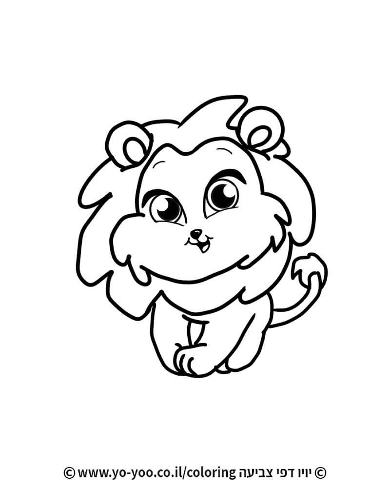 דף צביעה אריה חמוד