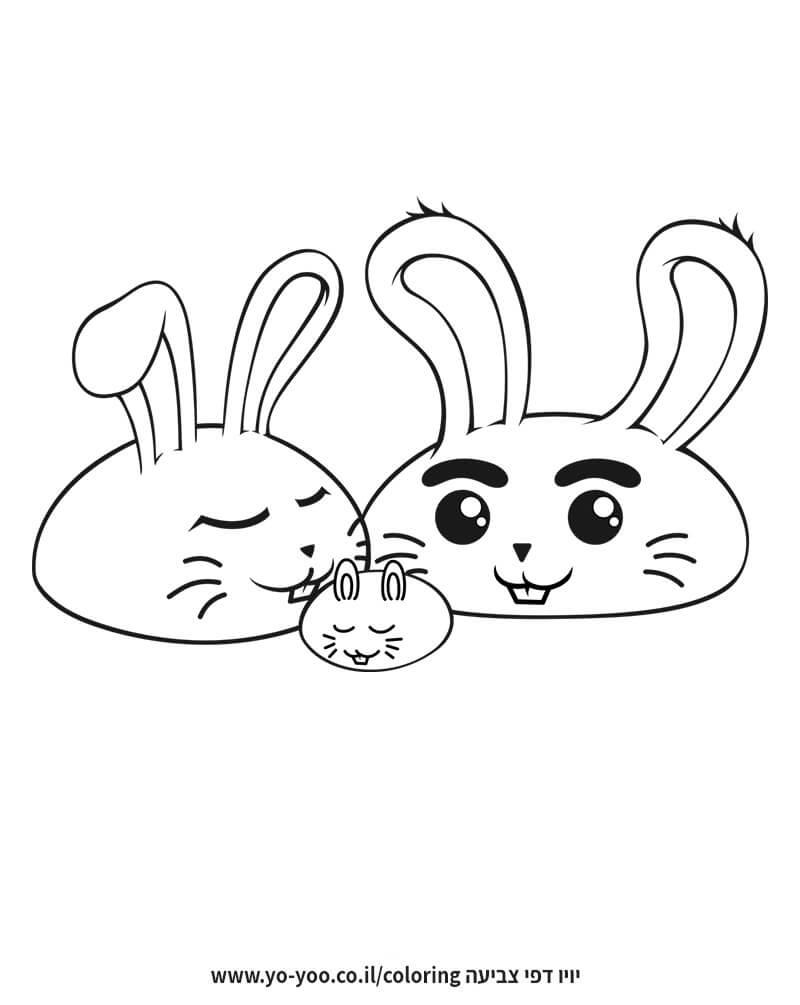 דף צביעה משפחת ארנבים