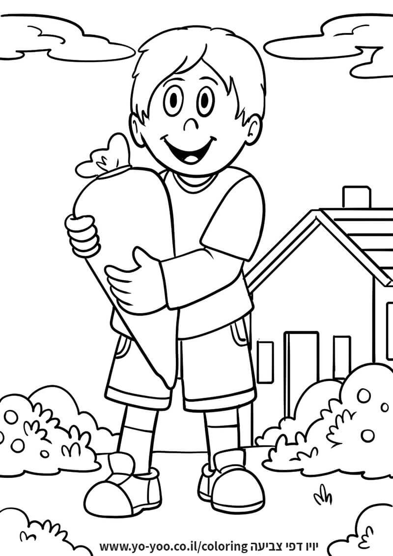 דף צביעה ילד בגינה
