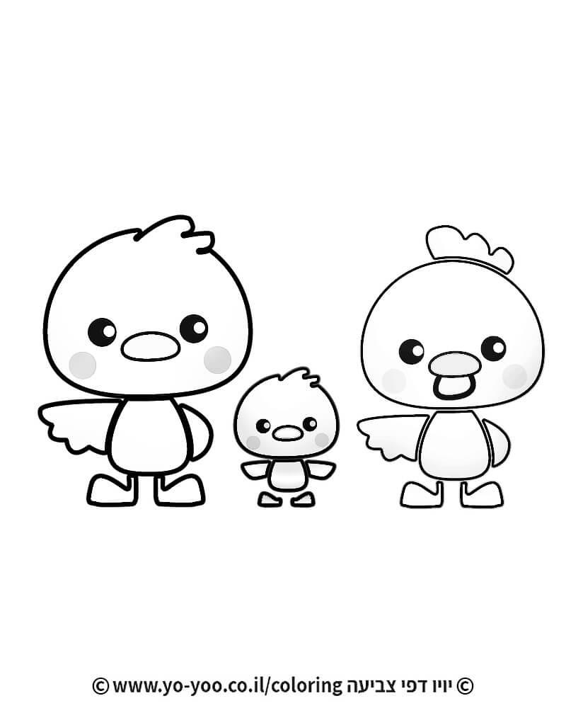 צביעת משפחת תרנגולים