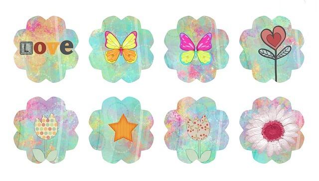 כפתורים פרפרים ופרחים