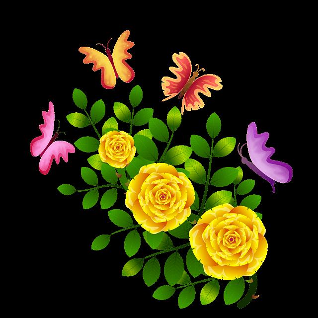 ציור של פרפרים ופרחים