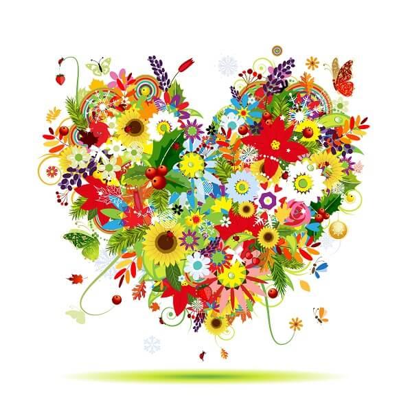 לב פרחים צבעוני