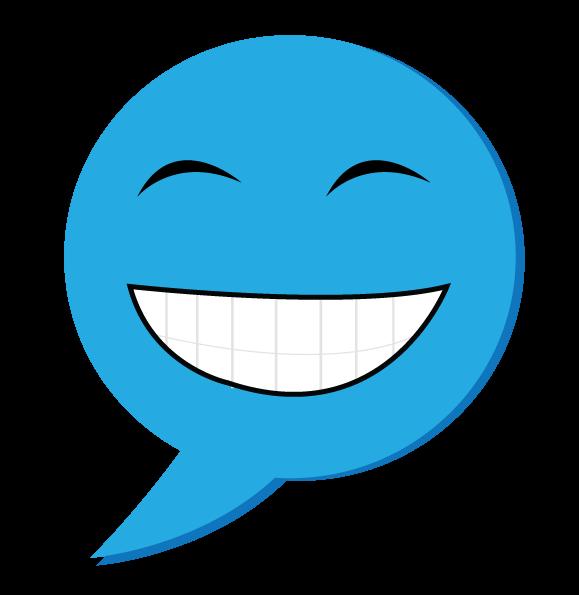 סמיילי כחול חיוך רחב