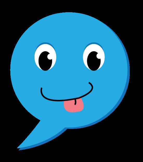 סמיילי כחול מוציא לשון