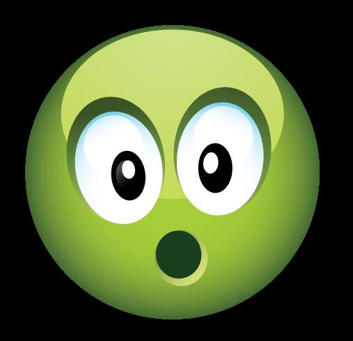 סמיילי ירוק מופתע