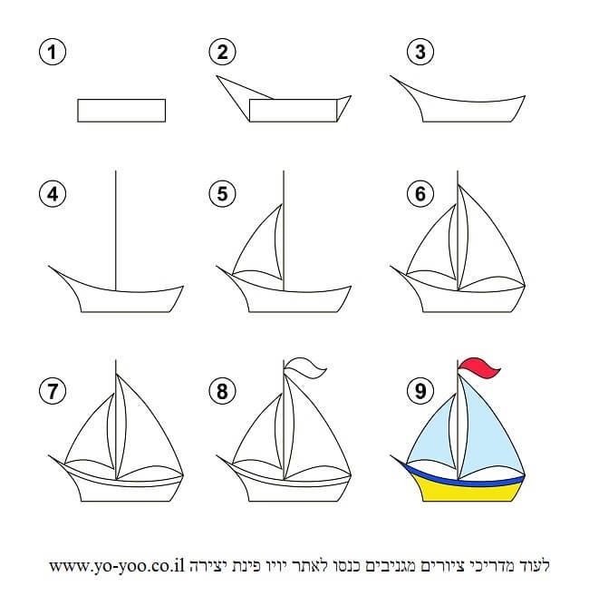 איך מציירים סירה