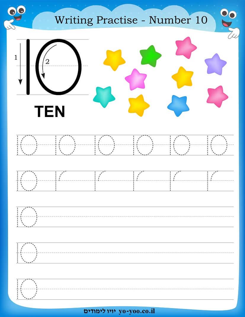 כתיבת המספרים 1-10