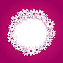 מסגרת פרחים בעיגול
