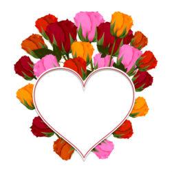 לב במסגרת פרחים