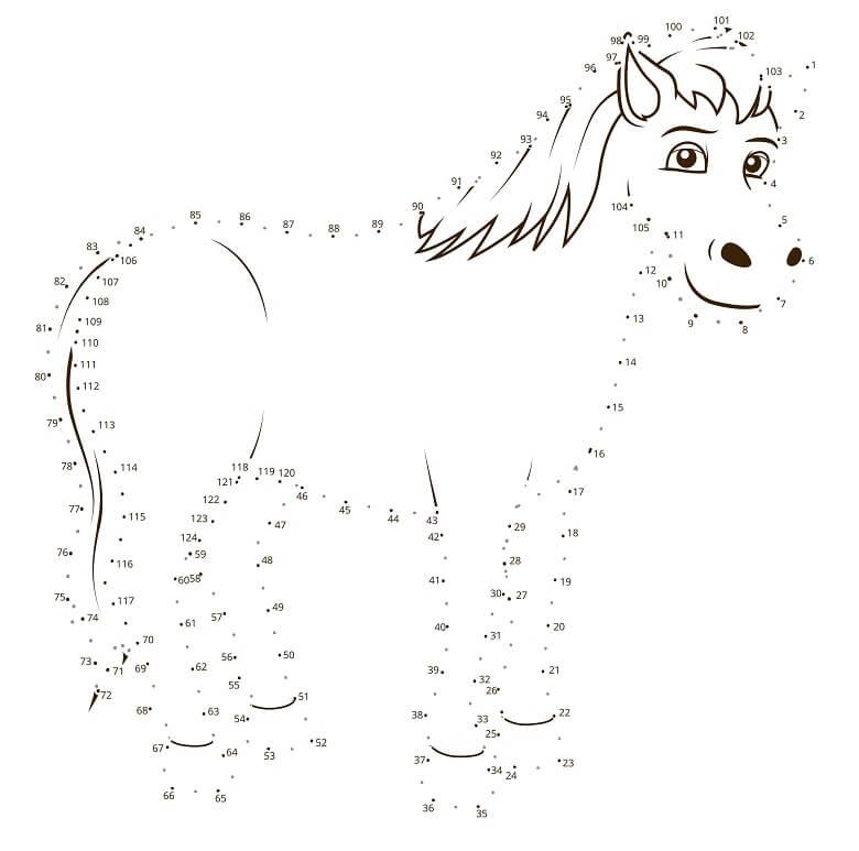 חיבור נקודות ציור סוס